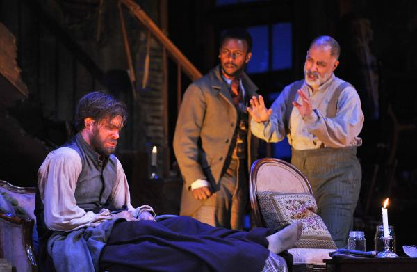 Free time (from left): Kyle Hatley, Josh Breckenridge and Michael Genet in The Whipping Man