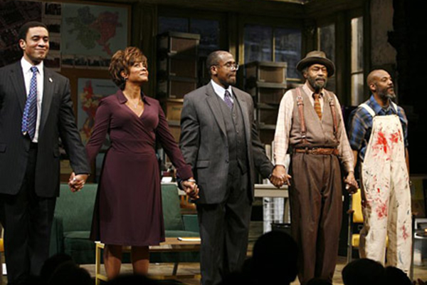 "Harry Lennix (left) and the cast of playwright August Wilson's ""Radio Golf"""