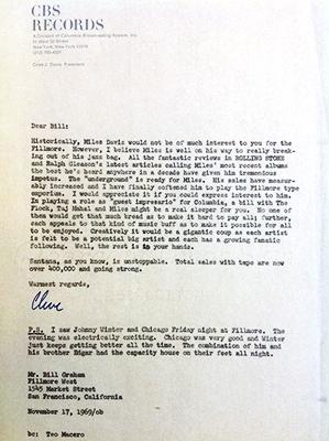 1970 Clive Davis letter to Bill Graham